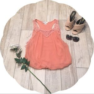 Orange Chiffon Bubble Shirt with Crochet Detail
